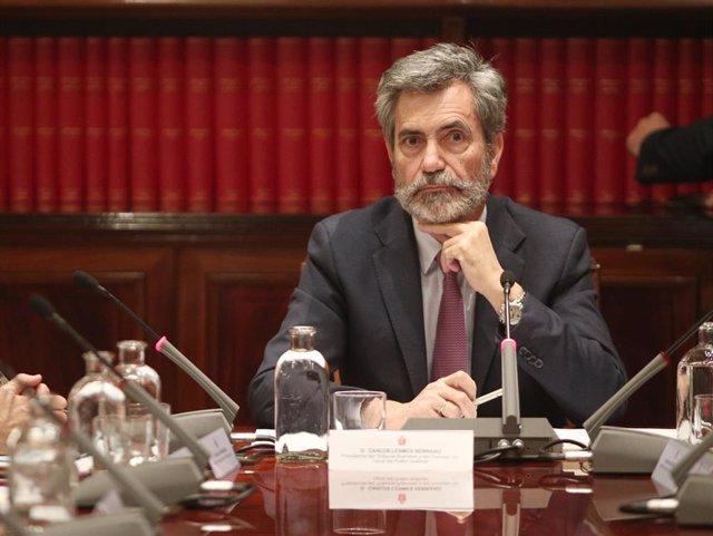 Archivo - El presidente del Consejo General del Poder Judicial, Carlos Lesmes, preside la reunión de coordinación del plan especial sobre juzgados especializados en cláusulas suelo en la sede del CGPJ, en Madrid (España), a 7 de noviembre de 2019.