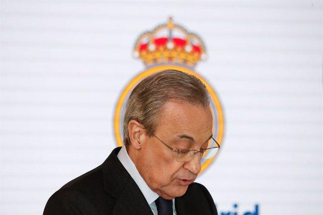 Archivo - Arxiu - Florentino Pérez, president del Reial Madrid, durant un acte