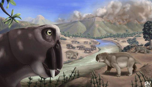 Una ilustración que muestra Lystrosaurus durante la extinción masiva del final del Pérmico