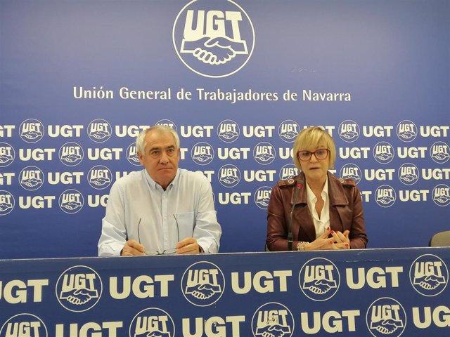 Archivo - Jesús Santos y Marisol Vicente, de UGT de Navarra