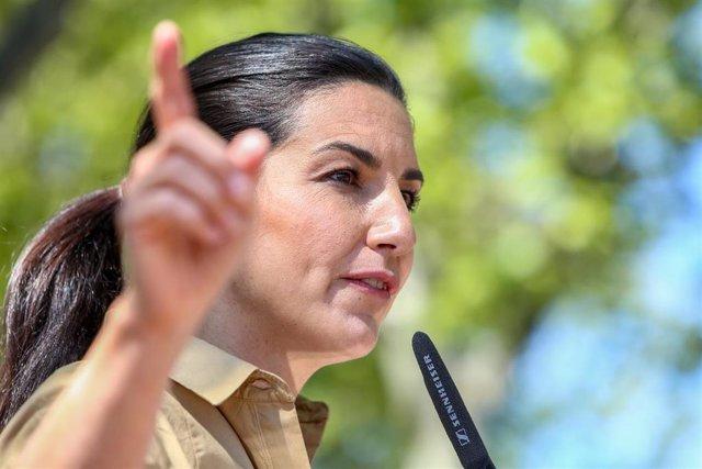 La candidata de Vox a la Presidencia de la Comunidad de Madrid, Rocío Monasterio, durante un acto en Boadilla del Monte.