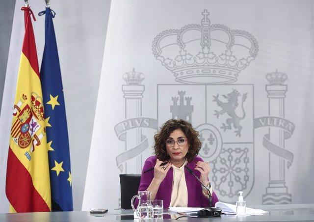 La ministra de Hacienda y portavoz del Gobierno, María Jesús Montero, durante una rueda de prensa posterior al Consejo de Ministros