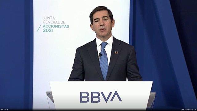 El prsidente de BBVA, Carlos Torres, en la junta general ordinaria de 2021