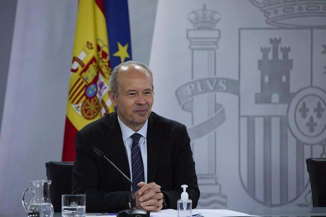 El ministro de Justicia, Juan Carlos Campo, durante la rueda de prensa del Consejo de Ministros.