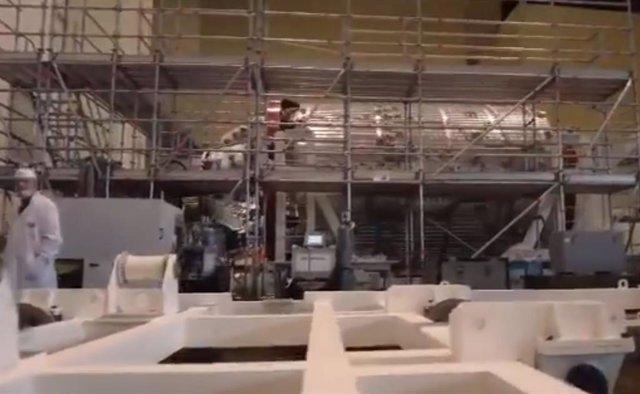 Aspecto del primer módulo en construcción para la estación espacial rusa