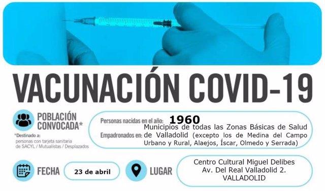 Cartel de llamamiento a los nacidos en 1960 para su vacunación frente a la COVID-19 en Valladolid.