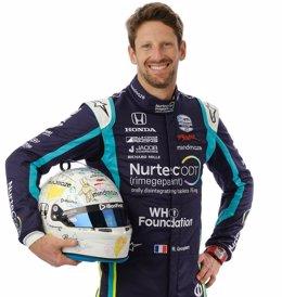 El expiloto de Fórmula 1 Romain Grosjean, con la publicidad en su mono de la Fundación de la Organización Mundial de la Salud (OMS)