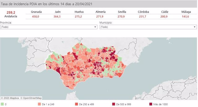 Mapa de Andalucía con nivel de incidencia de Covid-19 por municipios a 20 de abril de 2021