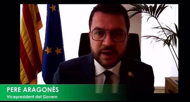 El vicepresident en funcions del Govern, Pere Aragonès, durant la seva intervenció.