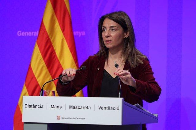 Arxiu - La portaveu del Govern en funcions, Meritxell Budó, en la conferència de premsa posterior al Consell Executiu.
