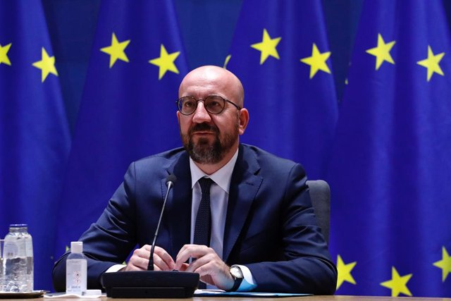 HANDOUT - 19 April 2021, Belgium, Brussels: European Council President Charles Michel speaks as he participates in a video conference with Georgian President Salome Zurabishvili at the European Council building in Brussels. Photo: Dario Pignatelli/Europea