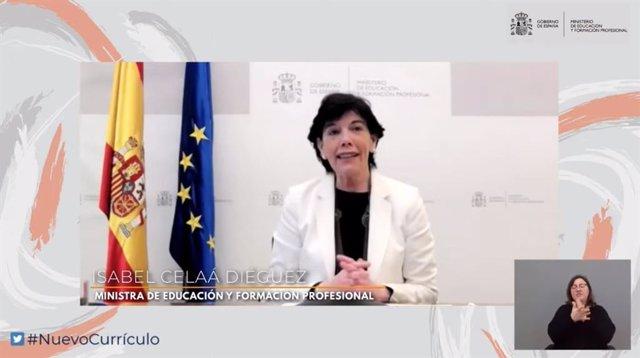 La ministra de Educación y FP, Isabel Celaá, en la inauguración de la primera sesión del foro virtual 'Nuevo currículo para nuevos desafíos', celebrado este martes 20 de abril