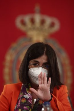 La ministra de Sanitat, Carolina Darias durant la seua compareixença davant la Comissió de Sanitat del Senat per a informar sobre les línies generals del seu departament, a 20 d'abril de 2021, a Madrid (Espanya).