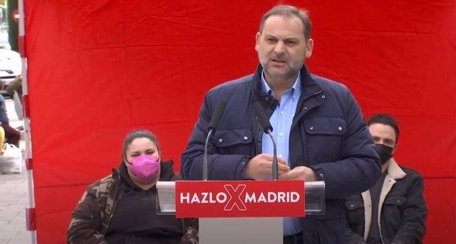 El ministro de Transportes, Movilidad y Agenda y secretario de Organización del PSOE, José Luís Ábalos, en un mitin en Parla, Madrid.