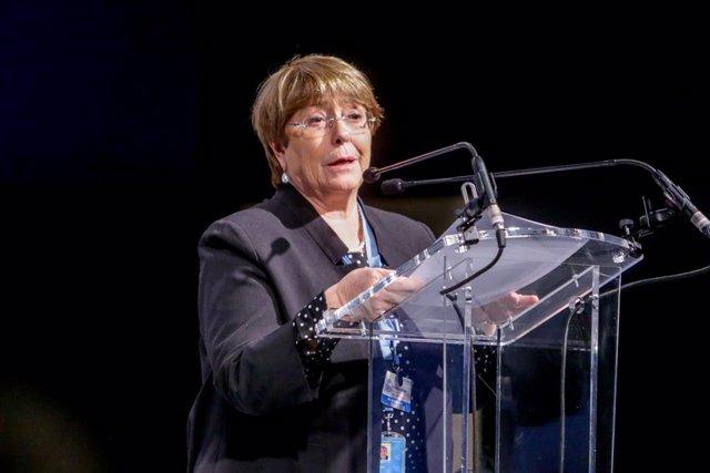 Archivo - La Alta Comisionada de Naciones Unidas para los Derechos Humanos, Michelle Bachelet, interviene en un acto en el que jóvenes activistas climáticos piden una acción urgente sobre la crisis climática en la Cumbre del Clima, en Madrid (España) a 9
