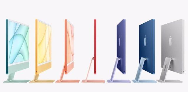 Ordenador iMac con procesador M1 en siete colores