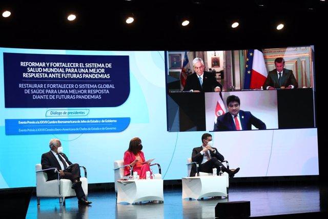 El presidente del Gobierno, Pedro Sánchez, participa en un encuentro sobre un tratado internacional de pandemias junto al primer ministro de Portugal, Antonio Costa, y Rebeca Grynspan