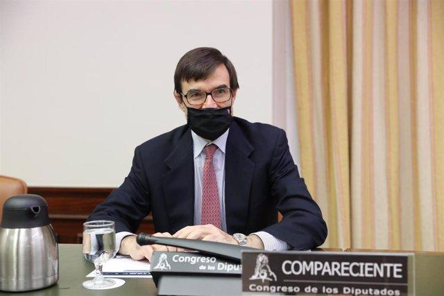 Archivo - El secretario de Estado para la Unión Europea, Juan González-Barba Pera, comparece en la comisión Mixta para la Unión Europea del Congreso de los Diputados, en Madrid (España), a 9 de diciembre de 2020.