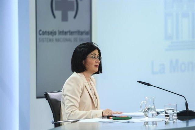 Archivo - La ministra de Sanidad, Carolina Darias, ofrece una rueda de prensa tras la reunión del Consejo Interterritorial del Sistema Nacional de Salud en el complejo de la Moncloa, Madrid, (España), a 24 de febrero de 2021.