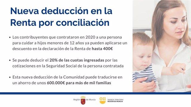 Información sobre la nueva deducción en la Renta por contrataciones para el cuidado de menores de 12 años.