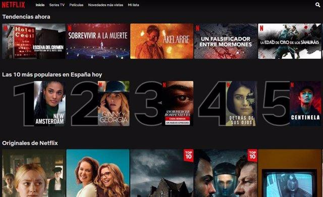 Archivo - Interfaz de Netflix