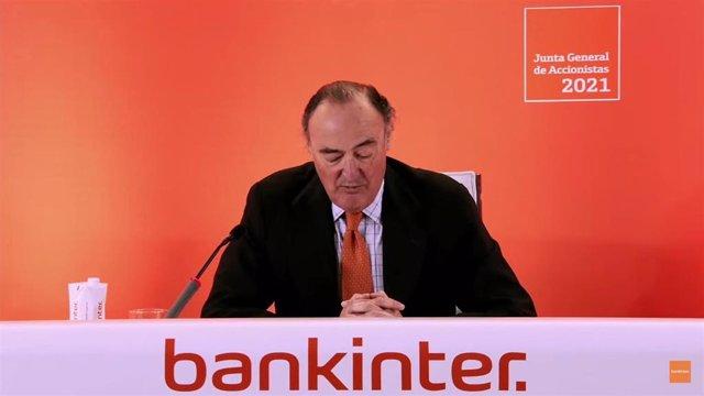 El presidente de Bankinter, Pedro Guerrero, en la Junta General Ordinaria de Accionistas 2021.