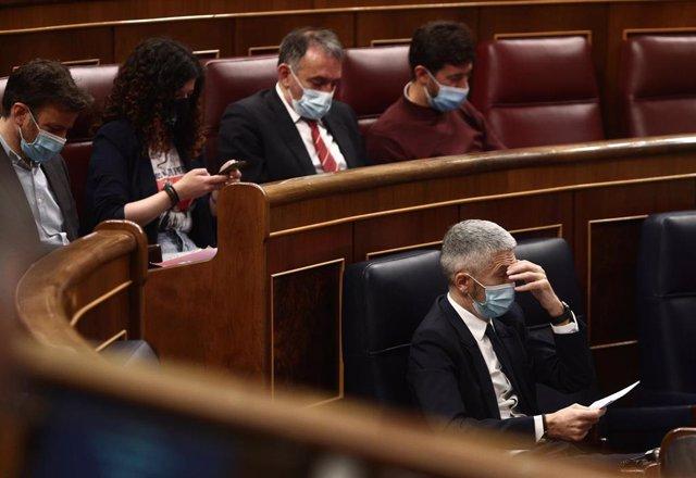 El ministro del Interior, Fernando Grande-Marlaska, en la sesión de control al Gobierno en el Congreso
