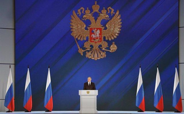 Vladimir Putin durante su discurso anual ante el Parlamento ruso.