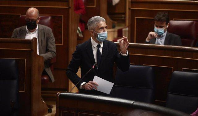El ministro del Interior, Fernando Grande-Marlaska, interviene durante una sesión de control al Gobierno  en el Congreso