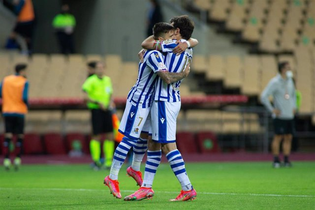 Mikel Oyarzabal celebra el gol que dio la final de Copa a la Real Sociedad