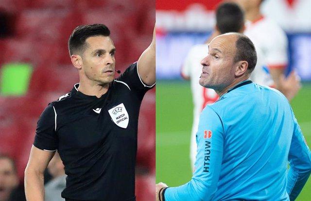 Los árbitros españoles Del Cerro Grande y Mateu Lahoz