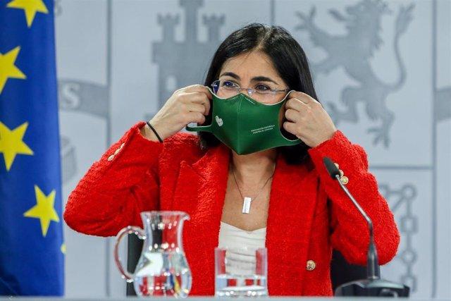 La ministra de Sanidad, Carolina Darias, durante una rueda de prensa tras la reunión del Consejo Interterritorial del Sistema Nacional de Salud