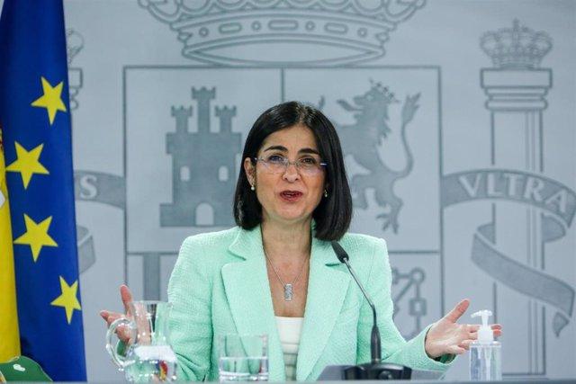 La ministra de Sanidad, Carolina Darias durante una rueda de prensa posterior al Consejo Interterritorial del Sistema Nacional de Salud en la Secretaría de Estado de Comunicación del Complejo de la Moncloa, a 21 de abril de 2021, en Madrid (España).