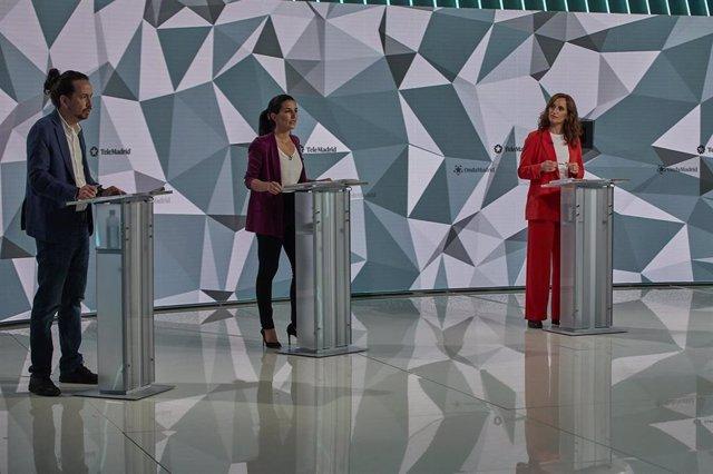 (I-D) El candidato de Unidas Podemos a la Presidencia de la Comunidad de Madrid, Pablo Iglesias; la candidata de Vox a la Presidencia de la Comunidad de Madrid, Rocío Monasterio; y la candidata de Más Madrid a la Presidencia de la Comunidad de Madrid, Món