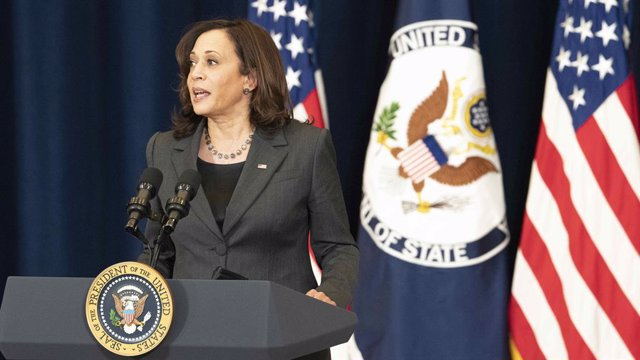 Archivo - 04 February 2021, US, Washington: US Vice President Kamala Harris addresses employees during a press conference at the Department of State Harry S. Truman Building. Photo: Freddie Everett/State Department/Planet Pix via ZUMA Wire/dpa