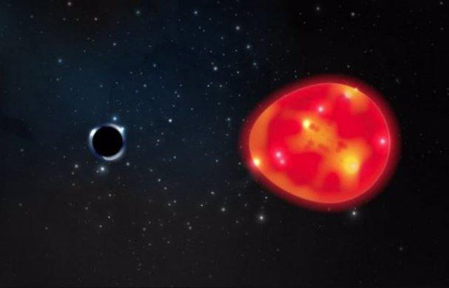 Ilustrciòn del agujero negro Unicornio y la gigante roja a la que está emparejado