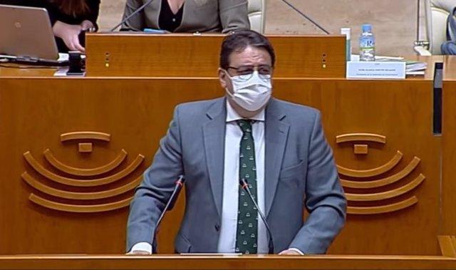 El vicepresidente segundo y consejero de Sanidad y Servicios Sociales, José María Vergeles, en una comparecencia en la Asamblea para informar sobre la situación de la pandemia en Extremadura