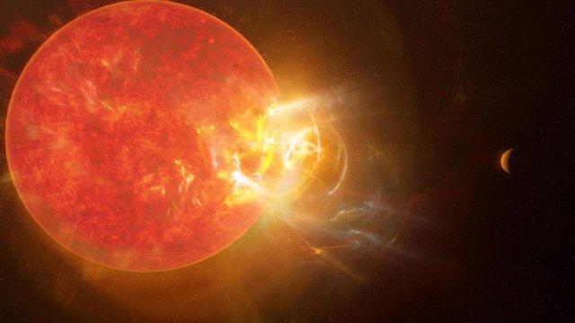 Concepción artística de una llamarada violenta que brota de la estrella Proxima Centauri.