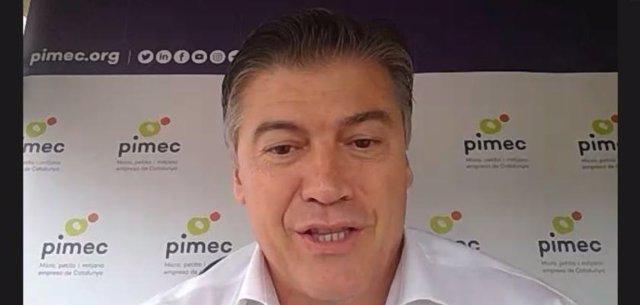 El president de Pimec, Antoni Cañete, en l'acte telemàtic 'La lluita contra la morositat en les relacions comercials'.