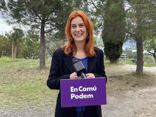 La líder dels comuns al Parlament, Jéssica Albiach, en declaracions als mitjans a Rubí.