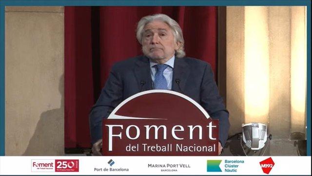 El presidente de Foment del Treball, Josep Sánchez Llibre, durante su intervención.