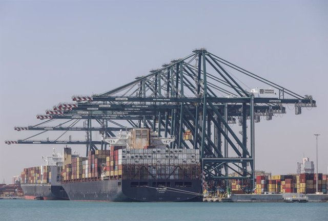 El portacontenedores MSC l'Havre hores després de la seua arribada al port, a 6 d'abril