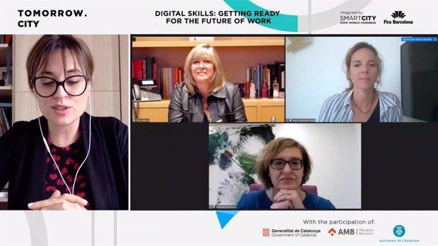 Intervenció telemàtica de l'alcaldessa de l'Hospitalet de Llobregat, Núria Marín, en la jornada 'Tomorrow City, Competències Digitals: preparant-nos per al futur', en el marc de la Smart City Expo World Congress.