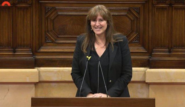 La presidenta del Parlament, Laura Borràs, en el acto por Sant Jordi 'Lletres al Parlament'.