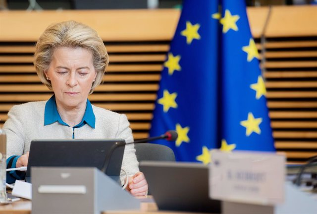 HANDOUT - 21 April 2021, Belgium, Brussels: European Commission President Ursula von der Leyen attends a weekly commissioners meeting. Photo: Jennifer Jacquemart/European Commission/dpa - ATTENTION: editorial use only and only if the credit mentioned abov