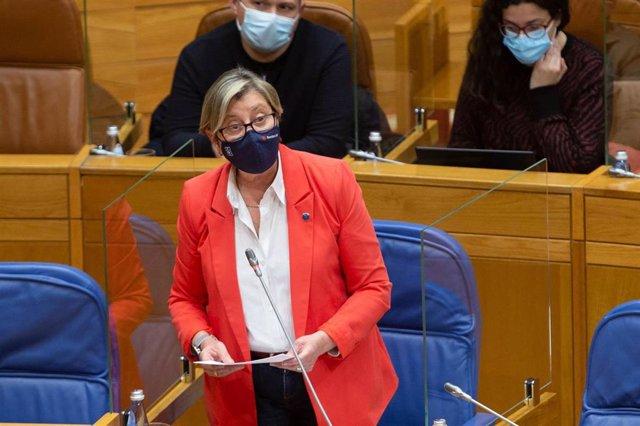 Archivo - La conselleira do Mar, Rosa Quintana, durante su comparecencia en el Parlamento de Galicia. Foto de archivo.