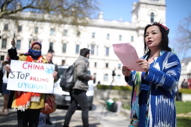 22 April 2021, United Kingdom, London: Rahima Mahmut, founder of Stop Uyghur Genocide, speaks during a demonstration at Parliament Square, which is being held ahead of a House of Commons debate, bought by backbench MP Nus Ghani, on whether Uyghurs in Chin
