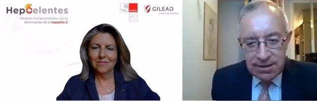 La vicepresidenta y directora general de Gilead España, María Río y el presidente de la Sociedad Española de Directivos de la Salud (SEDISA), José Soto,  en el acto de presentación del programa HepCelentes