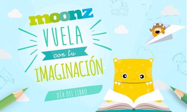 Cartel de Moonz con motivo de la celebración de talleres infantiles por el Día internacional del Libro