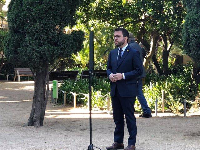 El vicepresident del Govern en funcions, Pere Aragonès, el 23 d'abril del 2021 al Palau Robert de Barcelona.